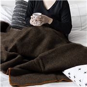 Midipy - Plaid Chocolate & Orange Ecru Stitch Throw120x180cm