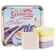 La Savonnerie De Nyons - Lavender Fields Tin Soap Set 4pce