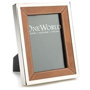 OneWorld - Nickel & Leather Photo Frame 13x18cm