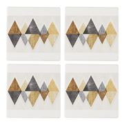 Thirstystone - Mod Triangles Gold Coaster Set Of 4