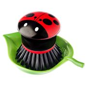 Vigar - Ladybug Hand Dish Brush w/ Holder