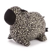 ART - Black Dotti Grey Hand Printed Sheep Doorstop