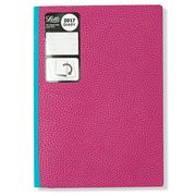 Letts - 2017 Two Tone A5 Week to View Diary Raspberry/Aqua