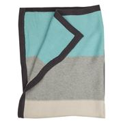 Pilbeam - Aqua & Grey Stripe Cotton Baby Blanket
