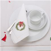 Christmas Napery - Pinecone Wreath Napkin