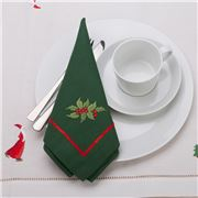 Christmas Napery - Holly Green Napkin