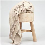 Cloth & Co - Cotton Tassel Natural Throw