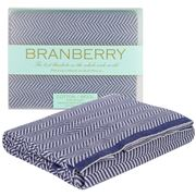 Branberry - Grey & Navy Herringbone Cot Blanket