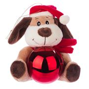 Boz Christmas - Puppy with Glossy Red Christmas Bauble