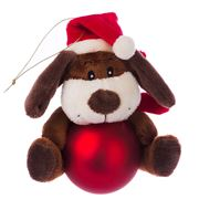 Boz Christmas - Puppy with Matte Red Christmas Bauble
