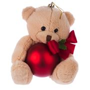 Boz Christmas - Teddy with Matte Red Christmas Bauble