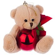 Boz Christmas - Teddy with Glossy Red Christmas Bauble