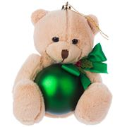 Boz Christmas - Teddy with Matte Green Christmas Bauble