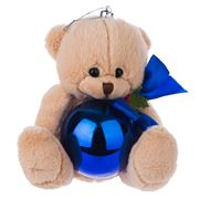 Boz Christmas - Teddy with Glossy Blue Christmas Bauble