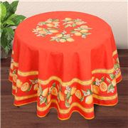 French Linen - Citron Orange Round Coated Tablecloth 180cm