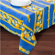 French Linen - Citron Blue Coated Tablecloth 150x200cm