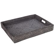 Rattan - Tray Large Blackwash