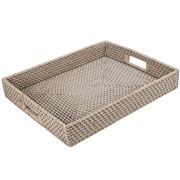 Rattan - Greywash Large Tray
