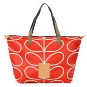 Orla Kiely - Giant Linear Stem Vermillion Zip Shopper