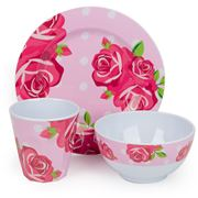 Bobble Art - Rose Melamine Mealtime Set 3pce