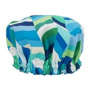 AT - Geo Pop Herringbone Lagoon Shower Cap