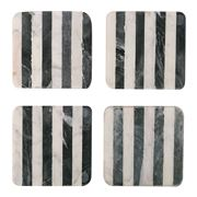 Old Hollywood - Black & White Striped Marble Coaster Set 4pc