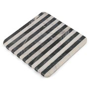 Old Hollywood - Black & White Striped Marble Square Trivet