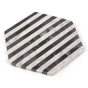 Old Hollywood - Black & White Stripe Marble Hexagonal Trivet