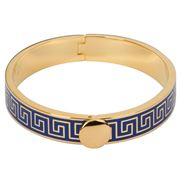 Halcyon Days - Greek Key Cobalt Blue & Gold Bangle
