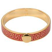 Halcyon Days - Greek Key Red & Gold Hinged Bangle