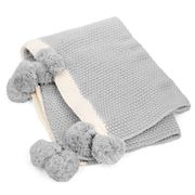 Madras - Pom Pom Grey & Cream Throw