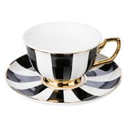 Cristina Re - Signature Teacup & Saucer Ebony Stripe