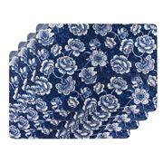 Ashdene - Indigo Blue Roses Placemat Set 4pce