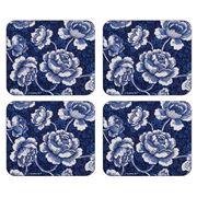 Ashdene - Indigo Blue Roses Coaster Set 4pce