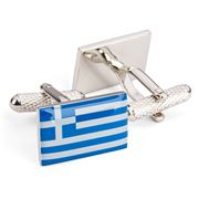 Onyx-Art - Greek Flag Cufflinks
