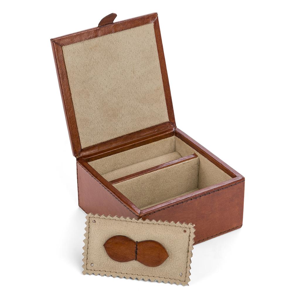 Rossini Leather Square Travel Jewellery Box