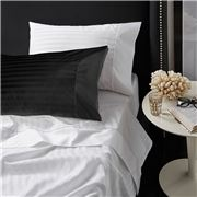 Davinci - Striped Sateen Cotton White King Sheet Set