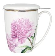 Ashdene - Pink Peonies Mug w/ Lid & Infuser