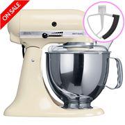 KitchenAid - Artisan KSM150 Almond Cream Mixer + Flex Beater