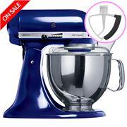 KitchenAid - Artisan KSM150 Cobalt Blue Mixer + Flex Beater