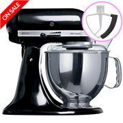 KitchenAid - Artisan KSM150 Black Mixer + Flex Beater