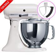 KitchenAid - Artisan KSM150 White Mixer + Flex Beater