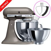 KitchenAid - Artisan KSM160 Cocoa Silver Mixer + Flex Beater