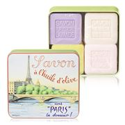La Savonnerie De Nyons - Eiffel Tower Tin Soap Set 4pce