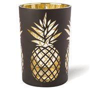 OneWorld - Black/Gold Pineapple Candle Holder Large