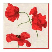 Caspari - Dancing Poppies Ivory C CB Lunch Napkins 20pce