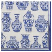 IHR - Rosanne Back Blue & White Urns Cocktail Napkin 20pce