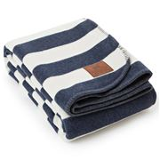 Lexington - Striped Bedblanket Blue/White 260x220cm