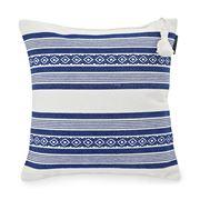 Lexington - Jaquard Striped White/Blue Cushion 65x65cm