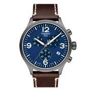 Tissot - Chrono XL Blue Wristwatch with Brown Strap